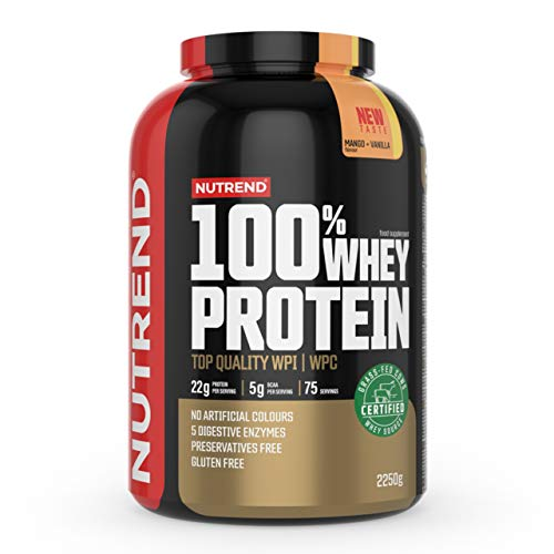Nutrend 100% Whey Protein – Whey Protein Concentrate – Protein Powder for Muscle – Supplement Bodybuilding – Amino Acid – BCAA - Package of 1 x (Mango Vanilla, 2250g)