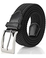 Elastic Braided Belt, Fairwin Unisex Men Women Braided Elastic Stretch Woven Belt for Jeans, Trouser,Black,for Waist 91-100cm(Size: L(Waist 36inch-40inch/91-100cm))