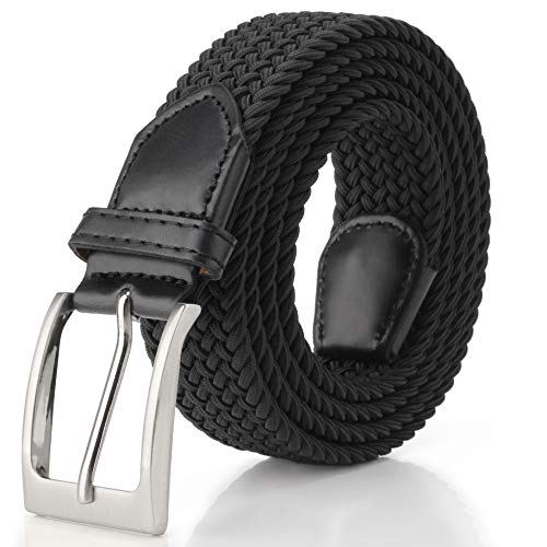 Fairwin Cintura Elastica Intrecciata per Uomo e Donna, Confortevole Cintura in Tessuto Elastico Stretch,per Jeans Pantaloni,Nero, per la Vita 80-90 cm