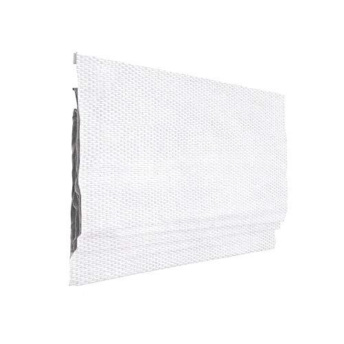 Victoria M. Ivora Raffrollo Rollo Faltrollo für Fenster und Türen, mit Schnurzug, Stabile Aluminium-Schienen, Pflegeleicht, ohne Bohren, 80 x 240 cm, Weiß