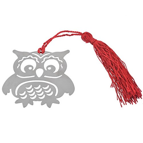 Zenguen Owl segnalibro in acciaio INOX ultra sottile in metallo segnalibro con nappa (argento)