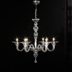 Milano - Lámpara de techo de cristal de Murano con 6 luces de cristal