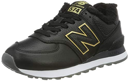 New Balance Damen 574v2 Sneaker, Schwarz (Black/Gold Black/Gold), 39 EU