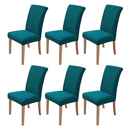 sorliva Fundas para Sillas Pack de 6 Fundas Sillas Comedor Fundas Protectoras para Sillas Lavables Comedor Decoración de Elástica para sillas para Banquetes Oficina Hogar Restaurante Bar (Azul Verde)