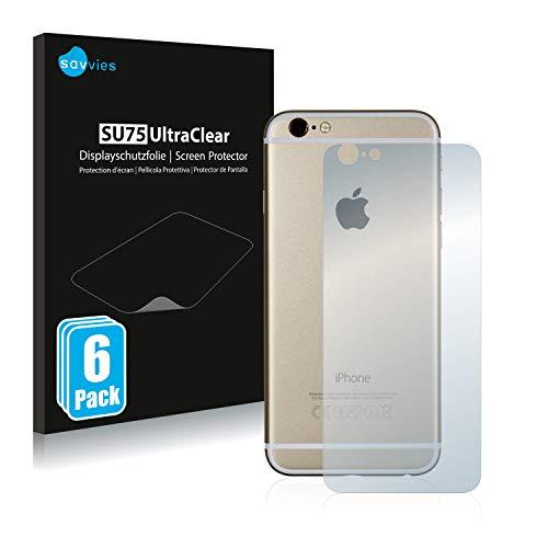 Savvies 6X Schutzfolie kompatibel mit Apple iPhone 6S Rückseite (gesamte Fläche) Displayschutz-Folie Ultra-transparent