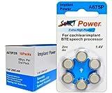 StartPower - 60 piles auditives , Typ A675P, 1.4V, 550mAh, PR44P, pour implant cochléaire, High Performance, Extra High Power