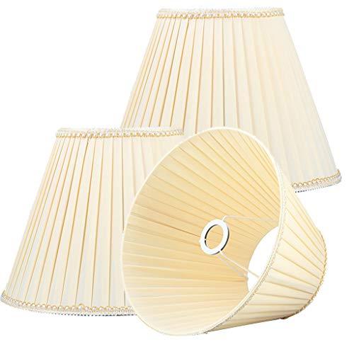 Gefalteter Lampenschirm, Für Tischlampe Dekoration Lampenschirm Gewebte Nachttischlampe Wohnzimmer Lesen Sie Lesen Beleuchtungszubehör Für E27,Beige*3