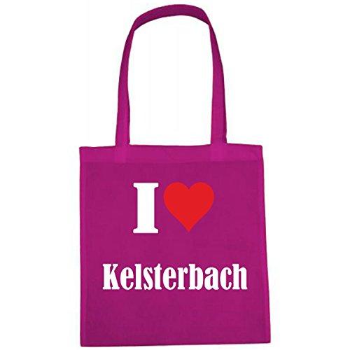 Tasche I Love Kelsterbach Größe 38x42 Farbe Pink Druck Weiss
