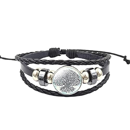 Pulsera unisex de cuero punk con diseño de árbol de la vida, con botón de presión, de cristal de cabujón, pulsera trenzada multicapa para hombres