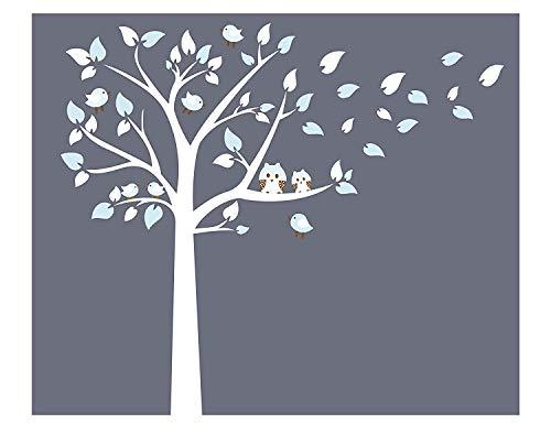 Bdecoll Kinderzimmer Wandtattoo,Baum mit Owls Wand Aufkleber Sticker Wandtattoos (White)