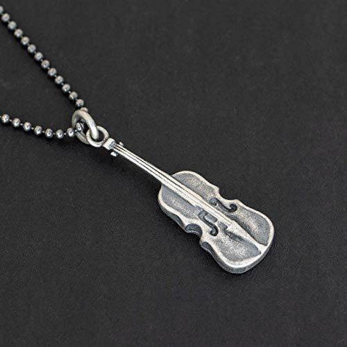 925 Sterling Silber Halskette für Männer Anhänger für Herren Halskette Anhänger Violine Halskette Kette klassische Musik Halskette Geiger Herren Geschenk