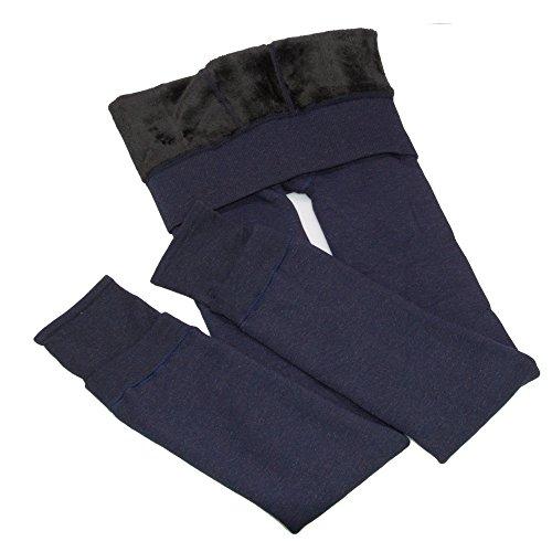 Crazysell leggings elastici invernali in caldo velluto, super spessi, da donna Blue Taglia unica
