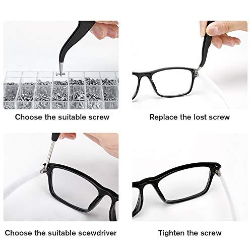 Cosyzone Eyeglass Repair Tool Kits Glasses Precision Stainless Steel Screws Set with Screwdriver Tweezer for Watch Clock Spectacle Eyewear Repair