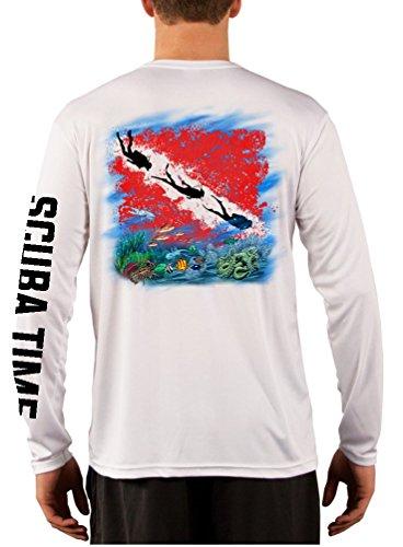 GAMEFISH USA Men's UPF 50 Long Sleeve Microfiber Moisture Wicking Performance Fishing Shirt Scuba Diving Large White