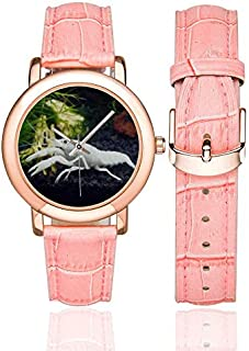 White Specter Crayfish Pattern Women's Rose Gold Leather Strap Watch