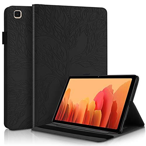 CaseFun Funda para Samsung Galaxy Tab A7 10.4 2020 T500/T505/T507 Árbol de la Vida Carcasa Cover Soporte Múltiple Ángulo y Bolsillo de Documento, Negro