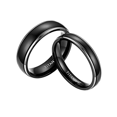 Mabohity Herren-Ring 6mm Titanringe Verlobungsringe Trauringe Matte Schwarz mit Polierte Kante, Größe 62