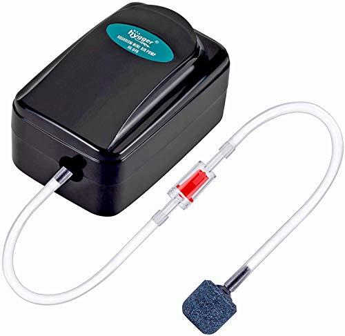 hygger Mini-Aquarienluftpumpe Luftpumpen-Set für Kleinaquarien Luftpumpe 1W für Aquarien mit 1-75 Litern mit Luftschlauch, Sprudelstein und Rückschlagventil