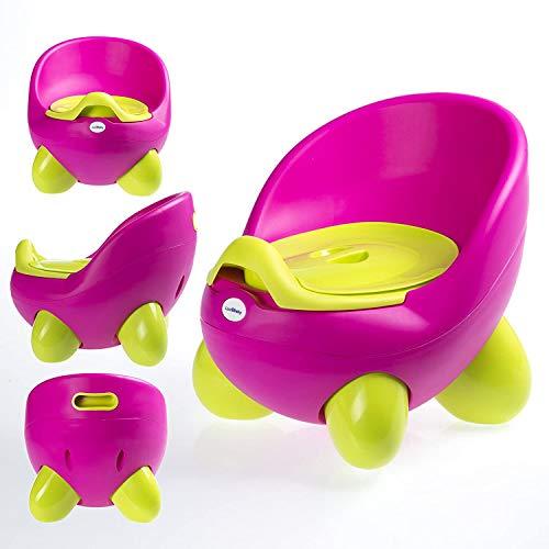 Vasino portatile con vasino interno rimovibile con coperchio, comodo schienale alto, design ergonomico, piedini antiscivolo rosa