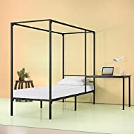 Zinus Kenn Canopy Bed Frame with Desk for students, Twin