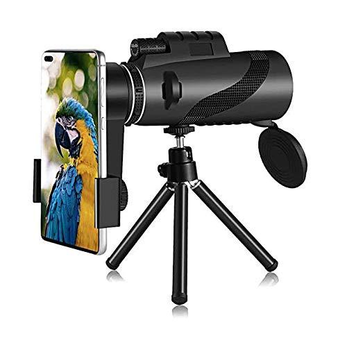 QWESHTU Télescope monoculaire, Avec Support pour Smartphone et trépied étanche, 12 × Zoom Haute définition vue oculaire enduit prisme optique BAK4, pour l'observation Des oiseaux, le Camping