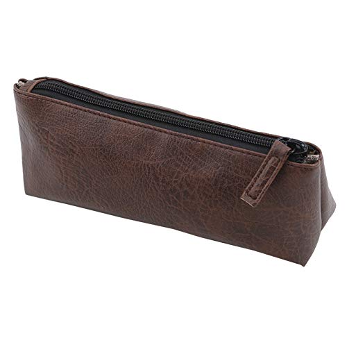 QIHang Cosmetic Bag Party Pouch Storage Bag Portable Wash Bag Handy Bag Leather Makeup Bag,Brown