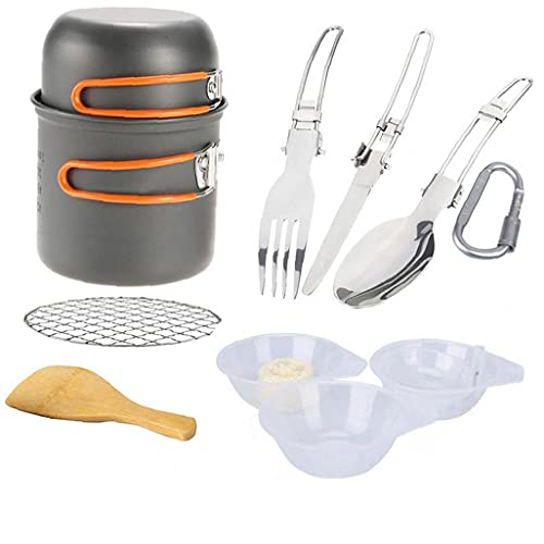 Utensilios De Cocina De Camping Kit Hikking Cocinar Kit De Picnic Antiadherente De Cocción Fijado con Vajilla para Mochilero Trekking Naranja