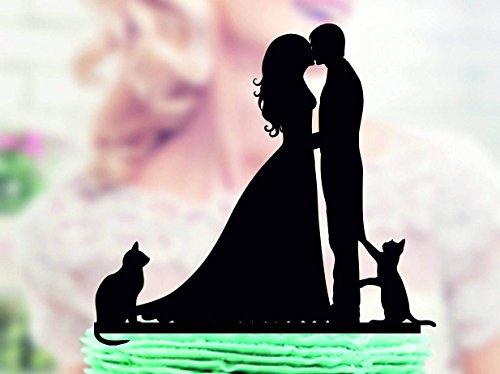 DKISEE Bruiloft Taart Topper met Kat, Silhouette Groom en Bruid, Silhouette Taart Topper met Twee Katten, Familie Taart Topper, Taart Topper voor Bruiloft, Verjaardag, Feest acrylic multi
