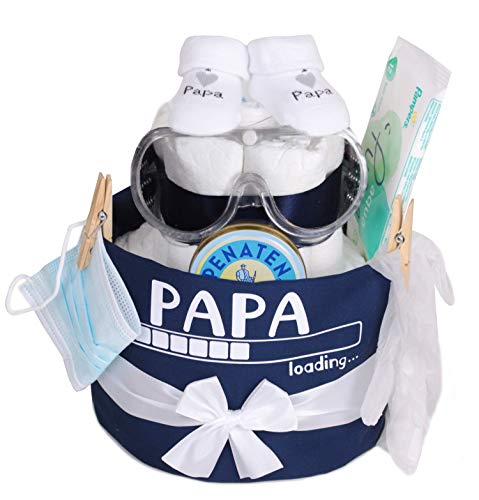 Trend Mama Windeltorte Papa Loading. -Latzschürze-Windelwechsler Set-Geschenk für den werdenden/frischgebackenen Papa