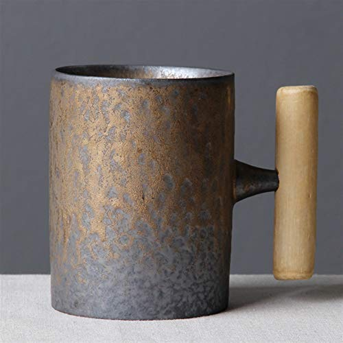 Juego de tazas Taza de cerámica de la vendimia Taza de la taza de la taza de la taza del óxido de la leche Taza de la leche con la taza de la cerveza de la manija de madera Taza de agua Bebida de la o