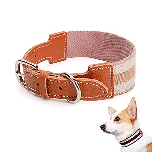 Danaba Correa de cuello de rayas para mascotas que puede ajustar el tamaño del collar de perro es cómodo y seguro disponible (almidón de raíz de loto, L)