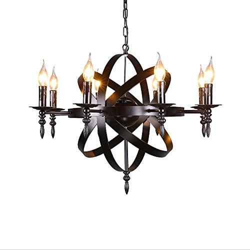 ZR Mittelalterlicher hängender runder Kerzenleuchterlicht des schwarzen Schlosses des schmiedeeisernen Kronleuchters großes Schwarzes passend für Wohnzimmerflur oder Landhausleuchter