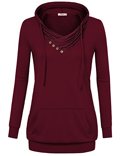 Timeson Hooded Sweatshirts, Vintage Hoodie Long Sleeve Classic Sweatshirt Fashion Hoodies with Buttons Wine X-Large