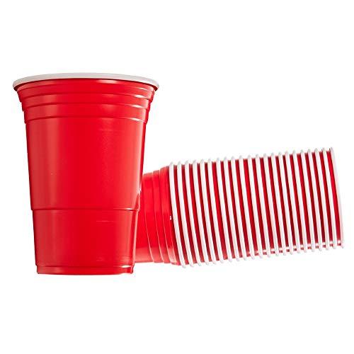 Cocofish XL Party Cups 50x Partybecher Trinkbecher Platikbecher Extra Groß und Ultra Robust - 50 Stück Rot