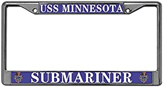 Niudunin USS Minnesota Submariner 2 Holes Auto License Plate Frame,Chrome License Tag Holder Magnesium Alloy License Plate Frame with Screw Set
