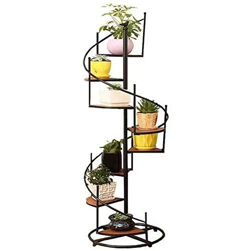 MRSDBTL Estantes para macetas Estantes de exhibición diseño de Escalera Caracol Metal Negro 8 Niveles Adornos para el hogar Retro Europeos Almacenamiento Soporte Decorativo para el jardín del hogar
