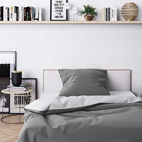 Wolkenfeld Bettwäsche 155x200 grau anthrazit - kuschelig weich & bügelfrei - 2teilig - [1x] Bettbezug + [1x] Kissenbezug 80x80 für Sommer und Winter