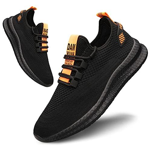Tvtaop Schuhe Herren Laufschuhe Sportschuhe StraßEnlaufschuhe Sneaker Turnschuhe Trainer Walkingschuhe Joggingschuhe Traillauf Fitness Schuhe, Blackorange, 42 EU