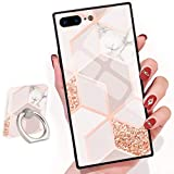 Bitobe Bling Glitter Sparkle Rose Gold Marble iPhone 7 Plus iPhone 8 Plus Square Edges Case with Phone Ring Stand Grip Holder Soft TPU Slim Square Case iPhone 7 Plus Phone Cover iPhone 8 Plus 5.5 inch