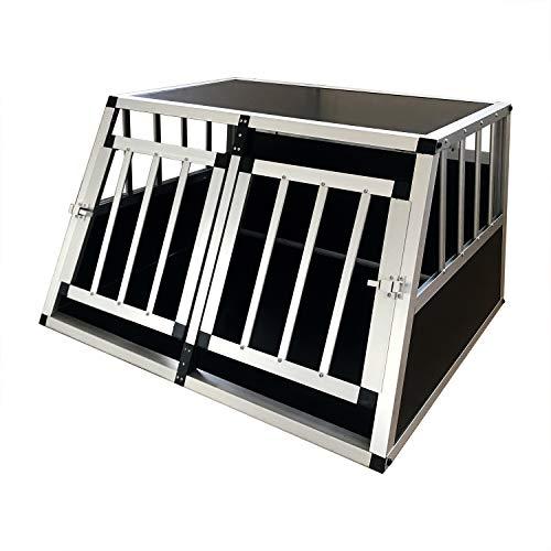 Gegaden Hunde Transport Box mit 2 Türen Alu Hunde Box für den Transport MDF Platten Aluminium Autotransportbox Autobox Hunde Reisebox Gitterbox Welpen Transportbox 89*69*50cm