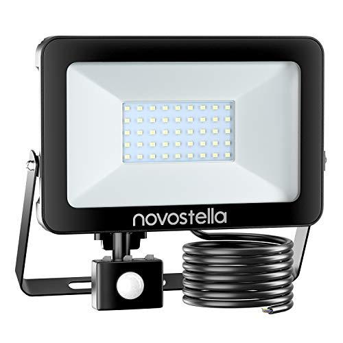 Novostella Projecteur LED 30W 3000lm Avec Détecteur Blanc Froid, Projecteur LED Extérieur, Spot LED Extérieur Avec Détecteur IP65 Etanche Éclairage de Sécurité pour Jardin Cour Garage Entrée, 1 pack