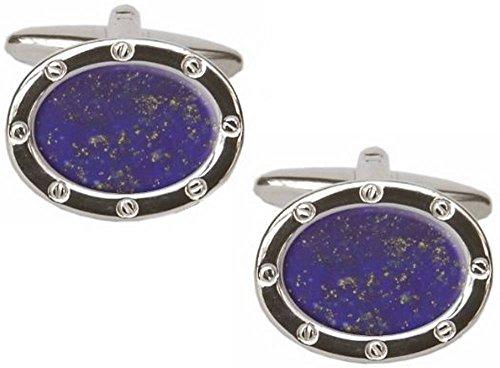 Bleu / Argent Lapis Lazuli Oval boutons de manchette de David Van Hagen