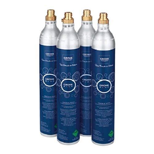 Grohe 40422000 Starter Kit Bombole CO2, Argento, Set di 4 Pezzi