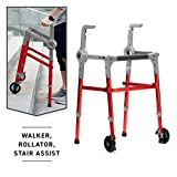 Roami Progressive Mobility Aid Walker with 2 Wheels, Rollator, Self-Adjusting Stair Assist, Go Up & Down Stairs, Ramps, & Steps, Mobility Aid for Adults or Seniors, Folding & Adjustable, Red