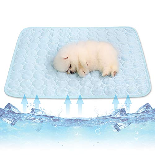 Cysincos - Alfombra refrescante para perro, alfombra refrigerante para perro, alfombra fría, gato, manta para perro XXL para el verano, material multifuncitonelado (azul claro, L) 🔥