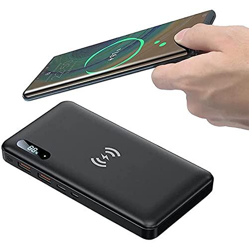 DNGDD Banco de energía inalámbrico, Cargador portátil inalámbrico con Carga inalámbrica de 15 W con certificación Qi y batería Externa de Carga rápida USB-C de 65 W para iPhone 12, Pro, Pro MA