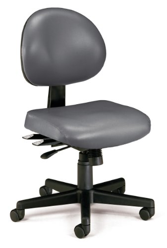 OFM Core Collection 24 Hour Mid Back Ergonomic Armless Task Chair, Anti-Microbial/Anti-Bacterial Vinyl, in Charcoal