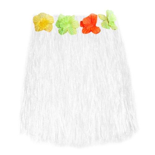 Gleader curt Hawaien Herbe Hula Jupe Luau avec Fleurs Deguisement Costume Accessoire (blanc)