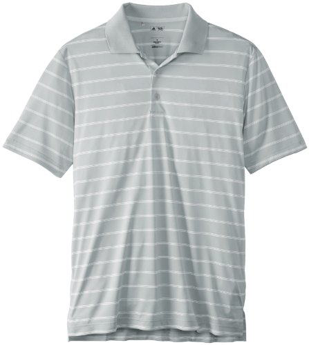 adidas Golf Men's Puremotion 2 Color Stripe Jersey Polo, Light Onix/White, Large