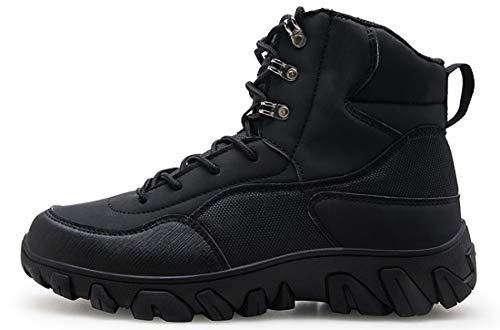Eisrumu Unisex - Erwachsene Stiefel Herren Damen Militärstiefel Seitlicher Reißverschluss Kampfstiefel rutschfest Einsatzstiefel Tactical Boots Schwarz 39 EU
